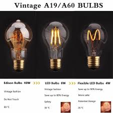 vintage flexible led filament bulb spiral led lamp a19a60 4w 2200k