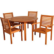 amazonia teak bt round set 5 piece patio teak dining set