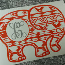 monogram stickers elephant decal decal car monogram from southernbroaddecals