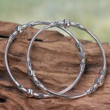 sterling bangle bead bracelet images Sterling silver bangle bracelets from indonesia pair ubud jpg