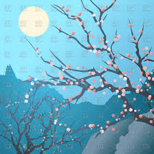 blossom trees japanese landscape with cherry blossom trees royalty free vector