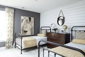 interiors scandinavian kitchen with dark kitchen cabinet with farmhouse chic bedroom with white washed shiplap paneling wall black iron bed frames old veneered drawer