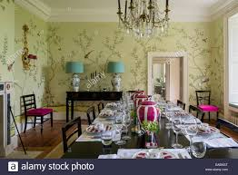 dining room crystal chandelier de gournay chinoiserie wallpaper in dining room with french