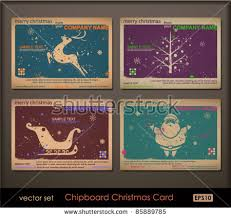 vintage collection chipboard christmas cards two stock vector