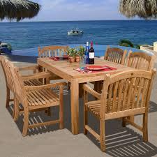 amazonia teak oslo 6 person teak patio dining set ultimate patio