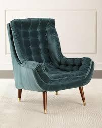 andrew green tufted velvet chair