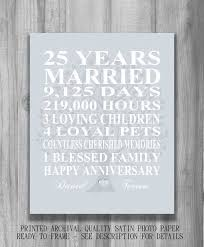 anniversary gifts personalized 25th wedding anniversary gift silver anniversary print