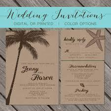 beach kraft paper wedding invitation palm trees island