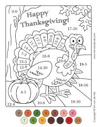 thanksgiving color by number printables walldumb info