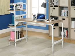 desk with shelves on side powder coated white finish desk w bookshelf of 3 side shelves