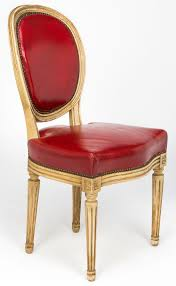 pair of french louis xvi style red leather chairs 19th century