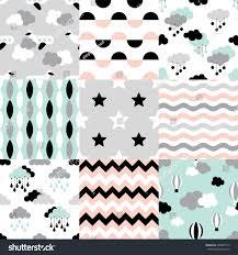 set scandinavian trend seamless pattern newborn stock vector