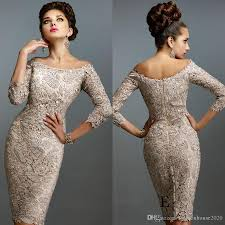 elegant champagne lace knee length mother of the bride dresses