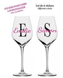 stickers muraux personnalisable 6 stickers personnalisés à coller sur vos verres de vin