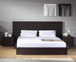 Modern Platform Bed Frame High Headboard Beds Modern Upholstered Pu Leather Bed With High