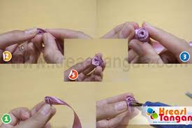 cara membuat bunga dari kertas pita jepang membuat kuncup dari pita kreasi tangan
