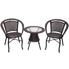 garden outdoor furniture rattan chairs coffee table three piece
