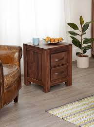 two drawer bedside table mayan walnut two drawer bedside table rustic bedside tables