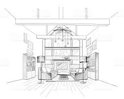 wooden house interior sketch stock vector art 590292574 istock