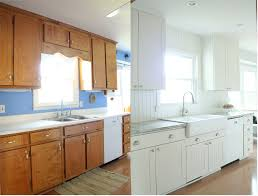 Painting Old Kitchen Cabinets Before And After Kitchen Appealing Bright White Painted Kitchen Furniture Such Wall