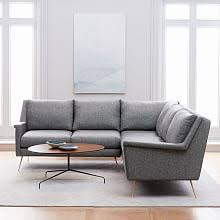 mid century modern sofa with chaise carlo mid century collection west elm