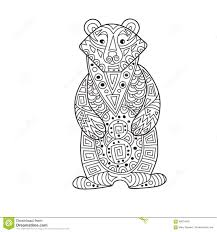 zentangle the baikal bear for anti stress coloring page