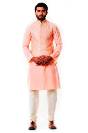 cotton silk and raw silk fabric peach color kurta for men from