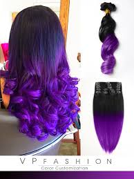 vpfashion hair extensions black to purple mermaid colorful ombre indian remy clip in