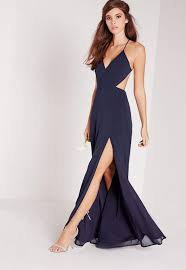 cut out dress strappy cut out maxi dress navy missguided