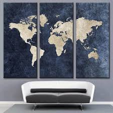 Decor Tips Fabulous 3 Piece World Map Wall Art For Your Interior
