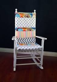 rocking chair cushion cover yellow white elephants by
