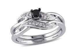 black diamond bridal set 1 3 8 ct tw black diamond bridal set in 10k gold with black