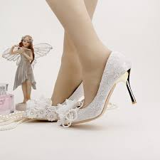 beautiful spring flower lace bridal shoes white lace pointed toe