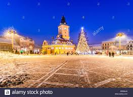 city square of brasov during winter holidays brasov romania