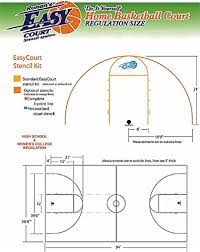 Half Court Basketball Dimensions For A Backyard by Amazon Com Easy Basketball Court Stencil Kit Basketball Court