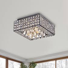 Crystal Flush Mount Lighting Gisela Modern Square Crystal Flush Mount Chandelier In Antique