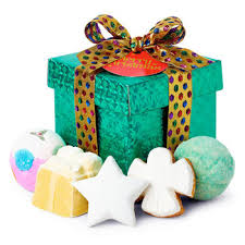 merry gift five comforting bath treats are encased in a