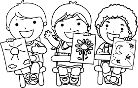 kids holding pictures coloring page wecoloringpage