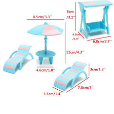 miniatures furniture set diy toy house beach umbrella table chair