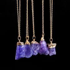 purple gemstone necklace images Handmade irregular natural stone crystal pendant necklaces gold jpg