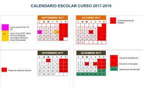 Calendario Diciembre 2018 El Curso Escolar 2017 2018 Arranca El 11 De Septiembre Para