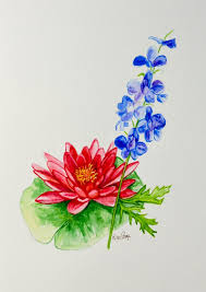 Birth Flowers By Month - water lily and larkspur july birthday flower original watercolor