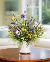 Artificial Floral Arrangements Pansy U0026 Wildflower Silk Flower Centerpiece At Petals