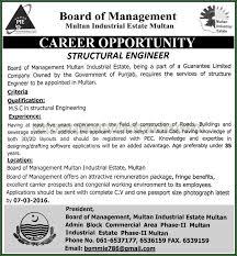 engineer jobs in board of management multan industrial estate