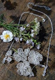snow white necklace french beaded flower pendant fairytale