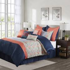 Bedroom Pink And Blue Nanshing Dascha 10 Piece Pink And Blue Polyester Comforter Set