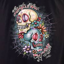 laugh now cry later sugar skulls t shirt