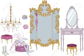 decor items of dressing room in victorian style royalty free
