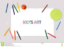 kid u0027s art drawing mockup top view of blank paper sheet placemat