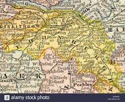 Edinburgh Map Original Old Map Of Edinburgh County Scotland From 1884
